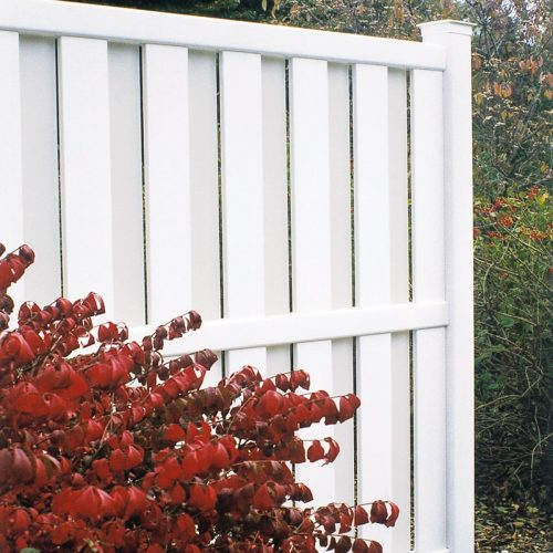 White vinyl fence, custom partial fence, fall scene