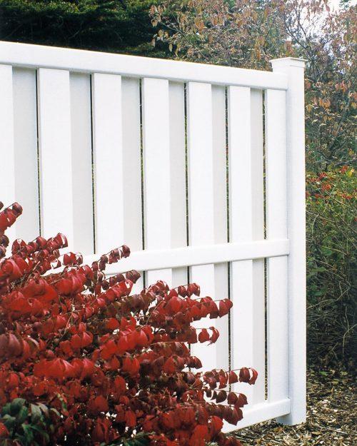 White vinyl fence, custom partial fence, fall scene