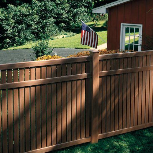 woodgrain look vinyl cedar look fence